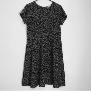 LOFT Gray and Black Leopard Print Dress